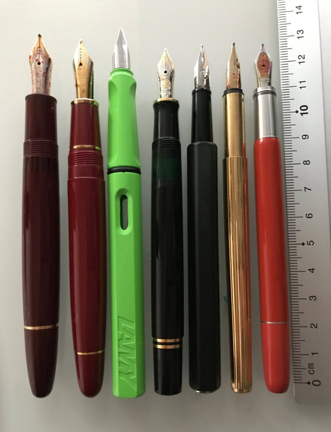 Montblanc Heritage Rouge et Noir, Coral and Tropic Brown, Size Compariosn