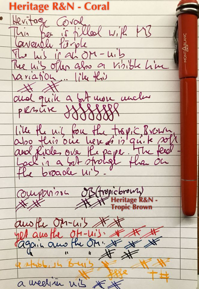 Montblanc Heritage Rouge et Noir Coral (OM) -  Writing sample.