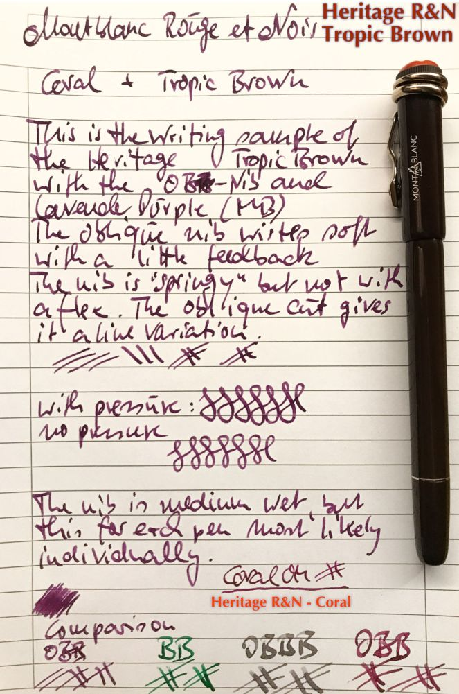 Montblanc Heritage Rouge et Noir Tropic Brown (OB) -  Writing sample.