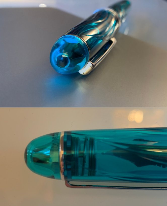 Finial and end-cap of the Pilot Century 3776 Kumpoo.